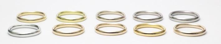 素材別に並べられた指輪