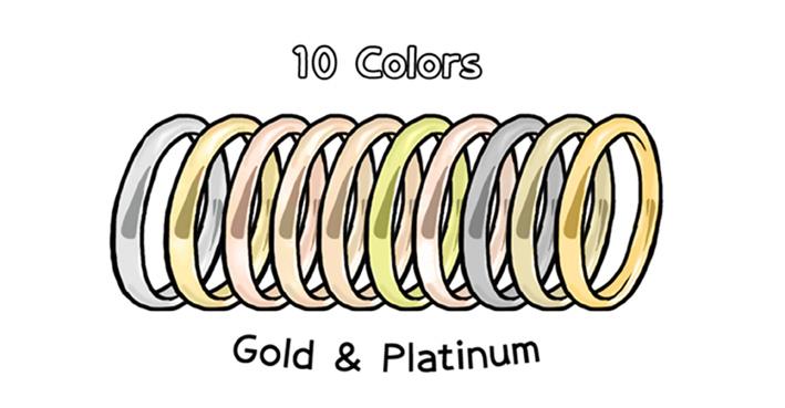豊富なカラーバリエーションで並ぶ指輪のイラスト